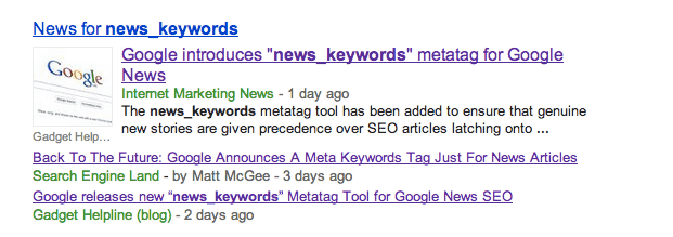 news keywords Google News