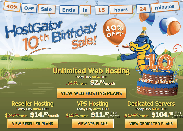 Happy 10Th Anniversary Hostgator : 40% Off