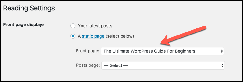 show-static-page-on-homepage