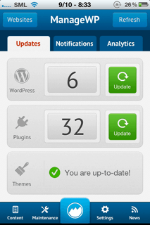 managewp iPhone dashboard Download ManageWP iPhone App : Manage WordPress Blogs from iPhone