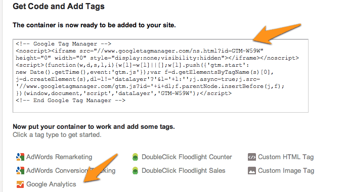 Ad code for Google tag manager