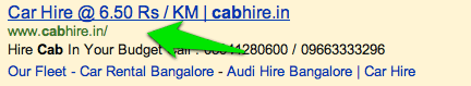 Cab book price in ads