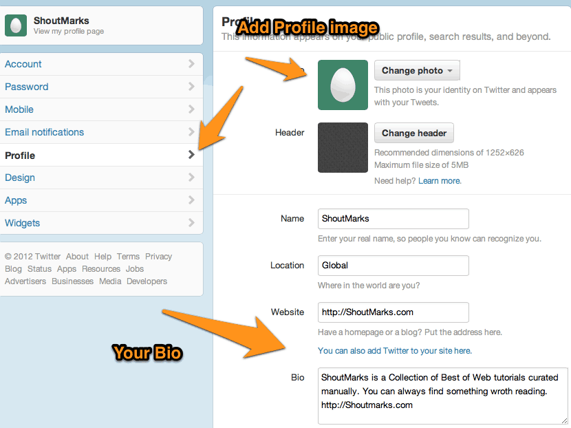 Completing Twitter Profile creation
