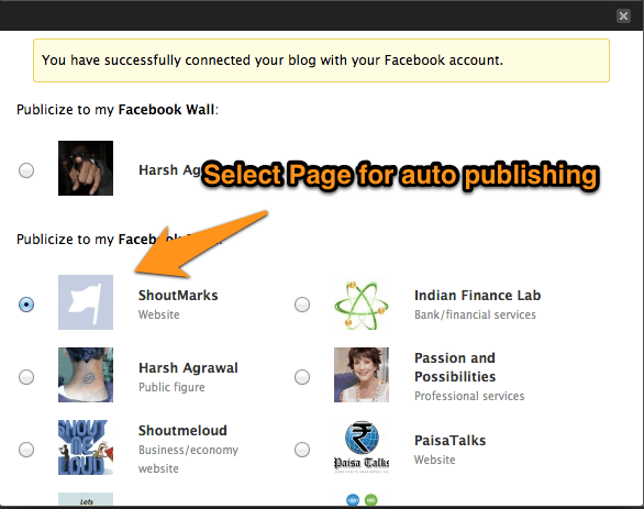 Facebook auto Publishing Blog post