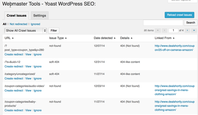Google Crawl isse WordPress dashboard
