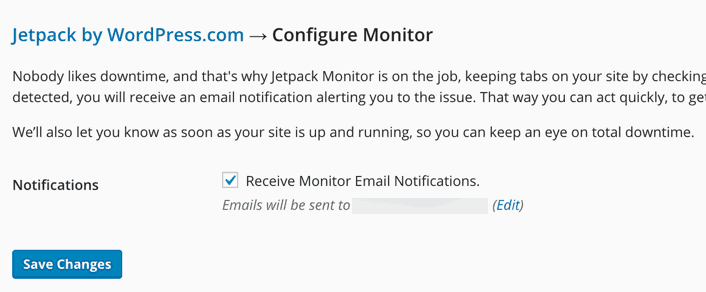 Jetpack website monitor