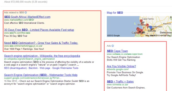 PPC ads in Google Search Results