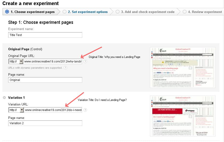 Experiment page for Split testing