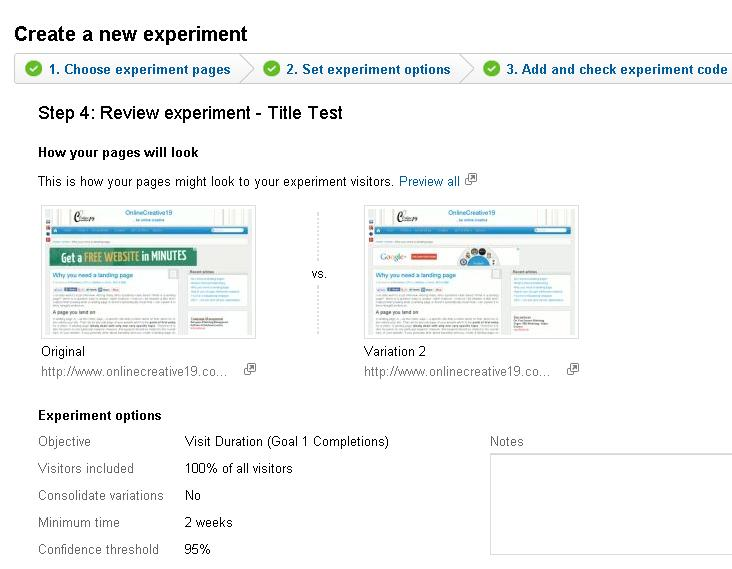 A/B split test review screen