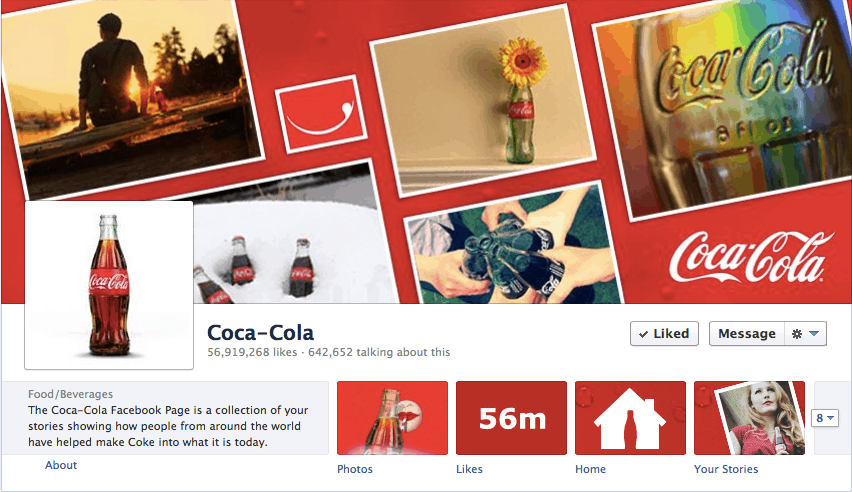 Coco cola facebook fan page