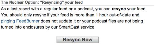 Feedburner not updating Resync