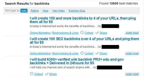 Fiver Gigs Why You Should Never Buy BackLinks : An Experiment