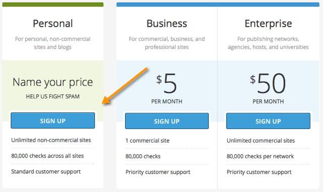 Free Akismet API Key