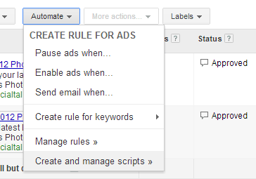 Rules for managing adwords ads