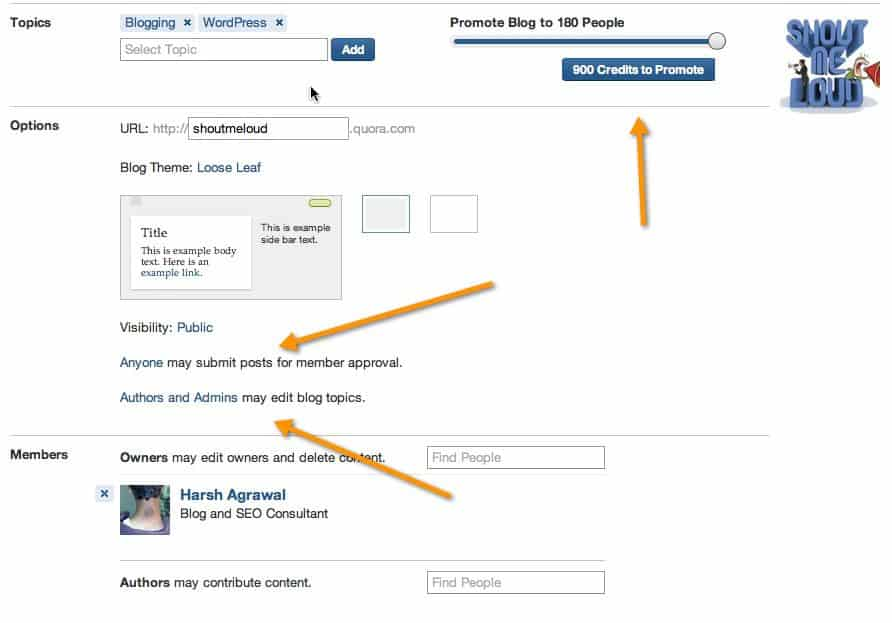 Setting up Quora blog