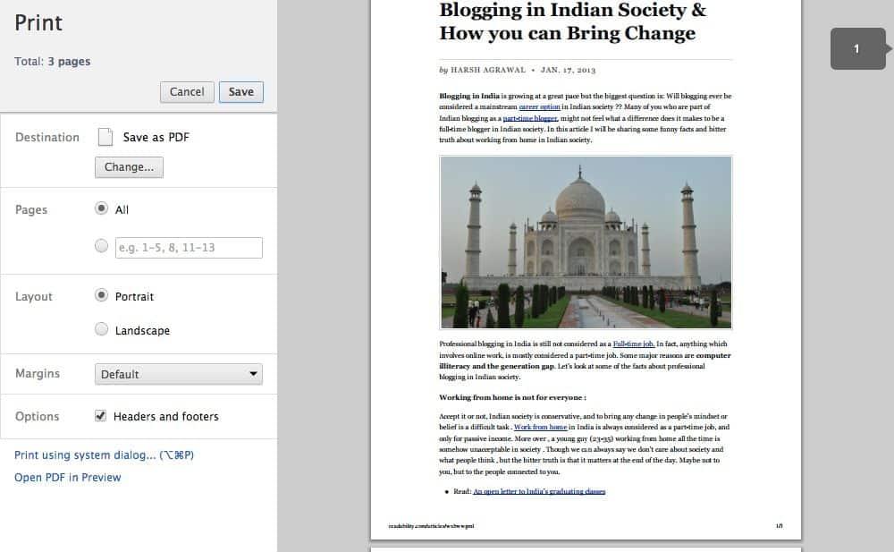 Webpage to PDF conversion