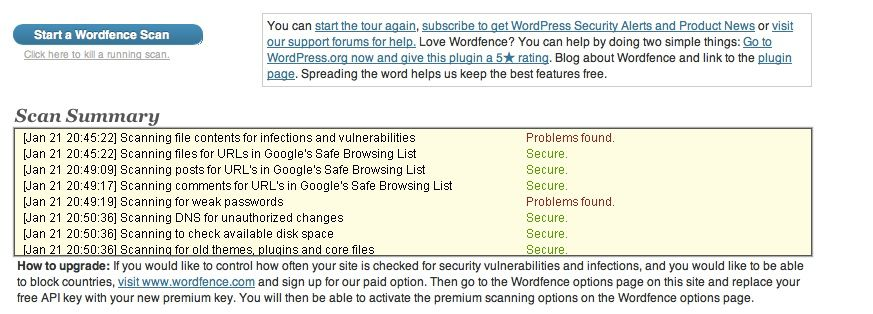 WordFence WordPress scan