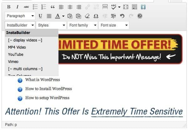 Instabuilder Sales page Editor