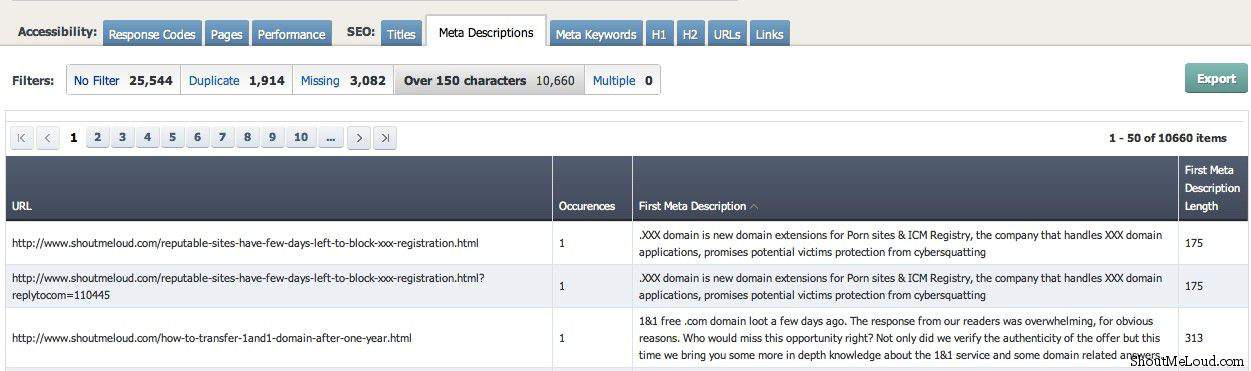 Missing meta descriptions Ahrefs Added Generate Website SEO Reports Option