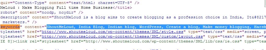 Meta Keywords Sourcecode