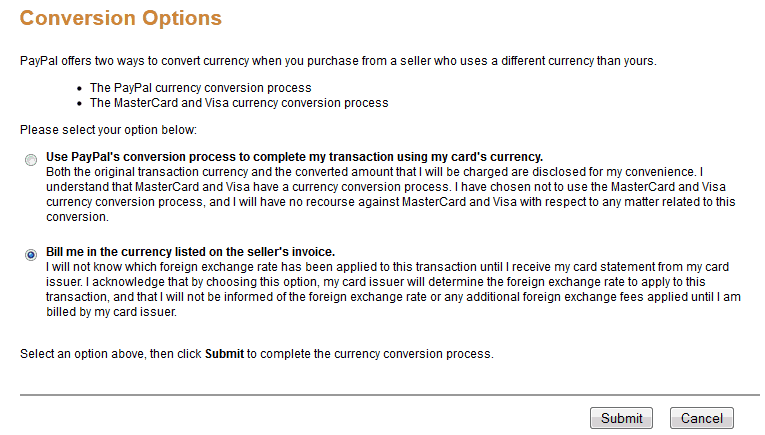Screen shot showing how to change other conversion option in PayPal