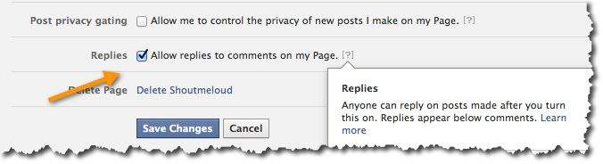 Enable threaded replies on Facebook pages