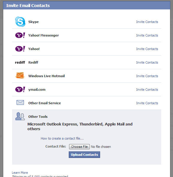 Invite Email contacts Facebook Page
