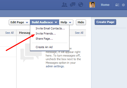 Facebook Page invite Friends
