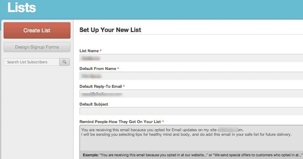 First Email list mailchimp