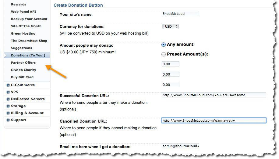 How to Create Donation Button for Hosting Bills : Dreamhost