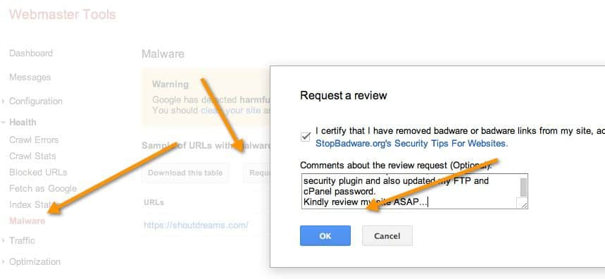 Malwars review request Webmaster tool How to Put Website Malware Review Request Via Google Webmaster Tool
