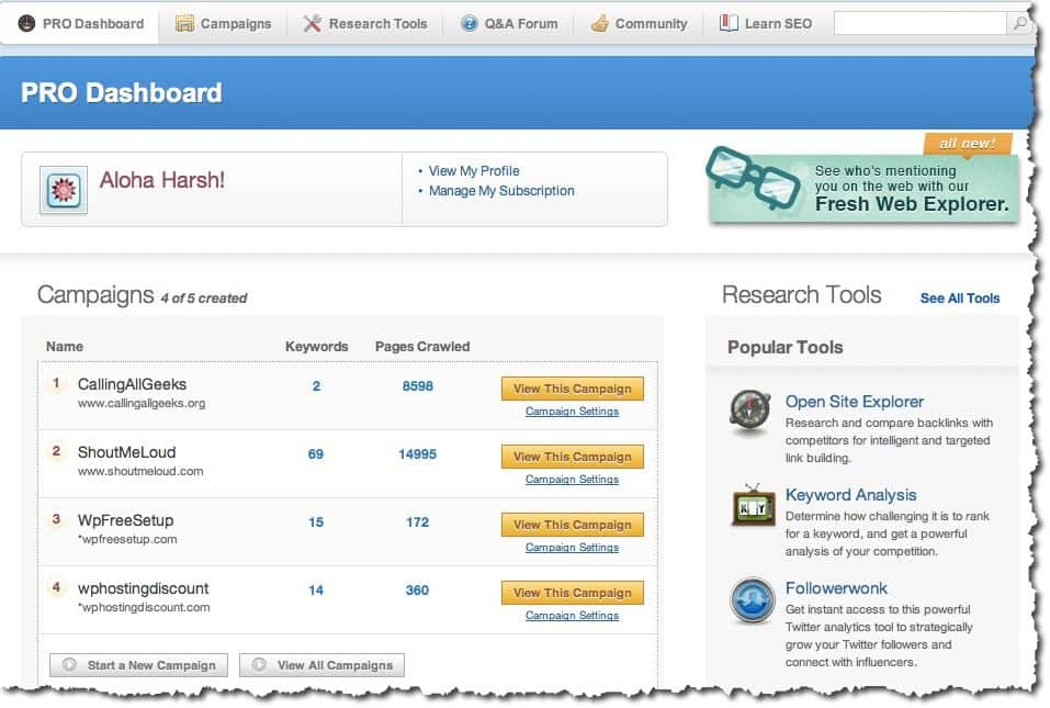 SEOMoz pro dashboard SEOmoz Review : Alternatives and Free Trial Account