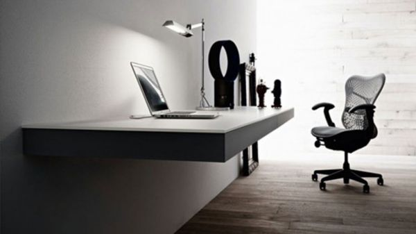 decluttered home office space