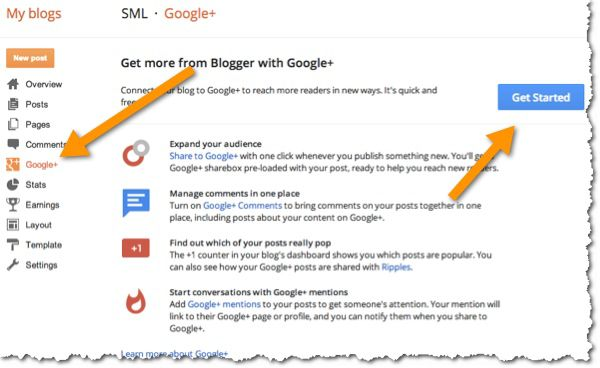 Integrate Google plus BlogSpot Blog