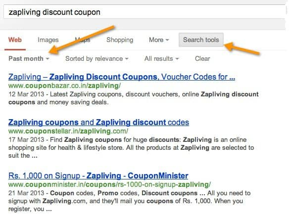 Search for Coupon codes