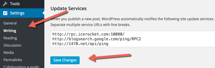 Updating WordPress ping list