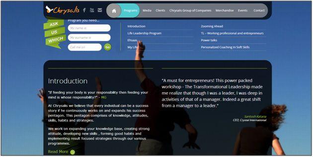 Website Design of Chrysalis