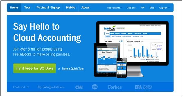 Call to action design on Freshbooks