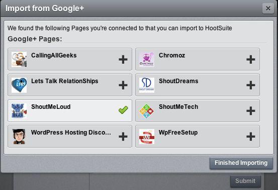 import Google plus page