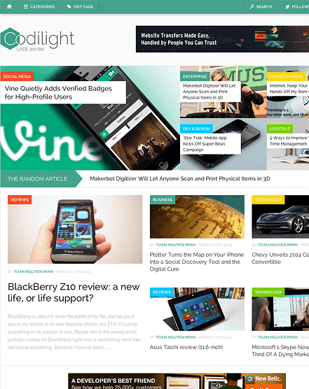 Codelight WordPress magazine theme