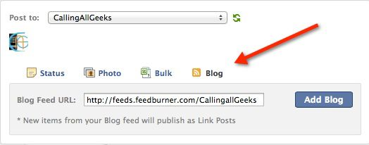 Auto publish feed to Facebook