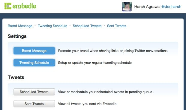 Embedle Schedule Tweet settings Embedle : Find What People are Tweeting about Any WebPage