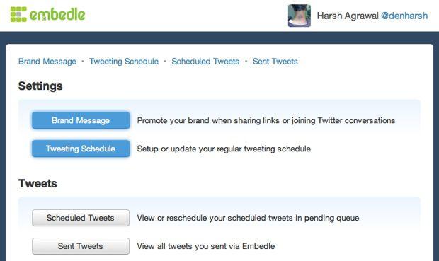 Embedle Schedule Tweet settings