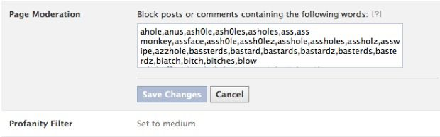 Facebook Page Feature : Block Words and Profanity Blocklist
