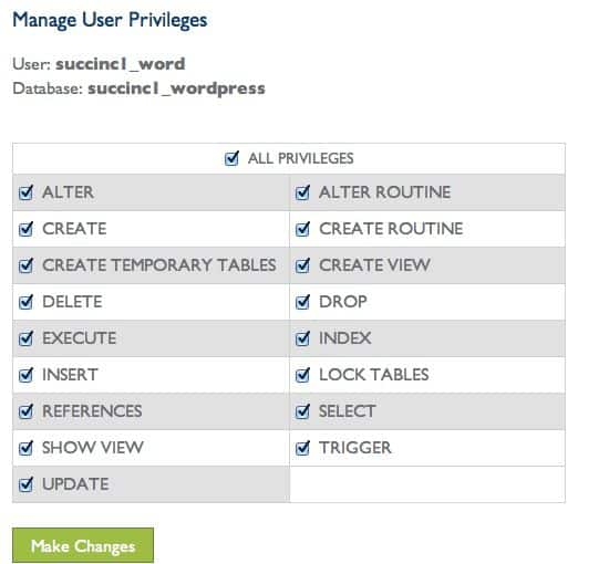 MySQL privilege
