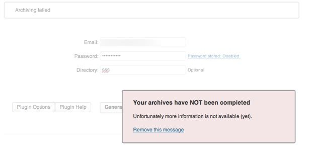 Time machine WordPress plugin archiving failed