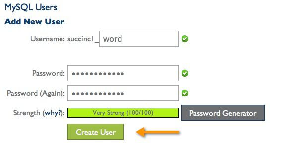 create MySQL users