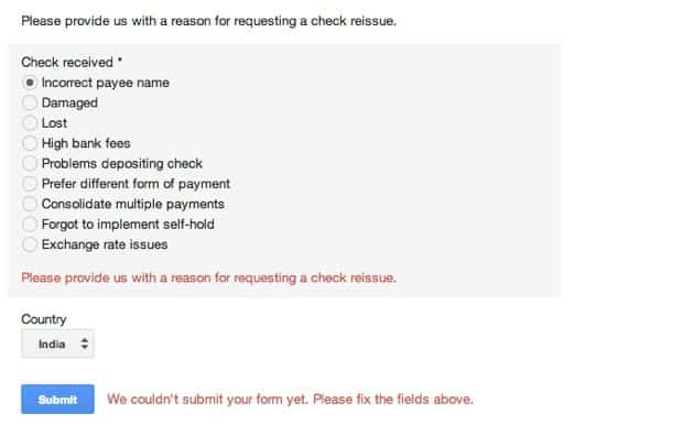reason for AdSense check reissue How to Reissue AdSense Check For Incorrect Payee Name