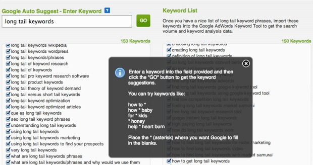 Google Auto suggestion long tail Keywords