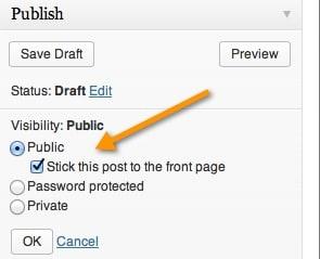 Make a Post sticky WordPress